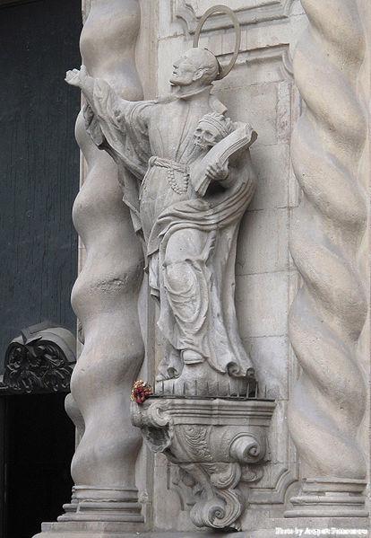 Statue of Saint Francis Borgia at the entrance of Bethlehem Church in Barcelona