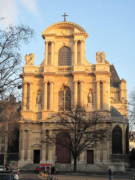 Facade of the church Saint-Gervais_Saint-Protais in Paris.