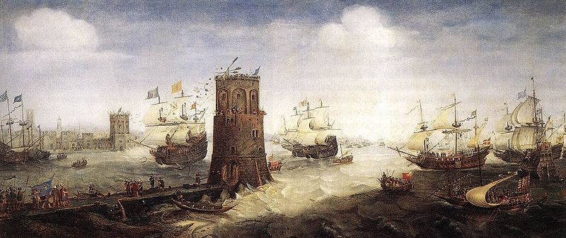 """Capturing Damietta painted by Cornelis Claesz. van Wieringen. This painting was taken from the largest wall tapestry of the 17th century depicting """"The Ship of Damiate"""". This tapestry which hangs in the Haarlem City Hall, in Haarlem, the Netherlands, is 35 feet long by 7 feet high."""