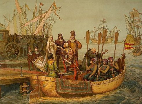 King Ferdinand and Queen Isabella bid farewell to Columbus for his First Voyage, Departure for the New World, August 3, 1492.