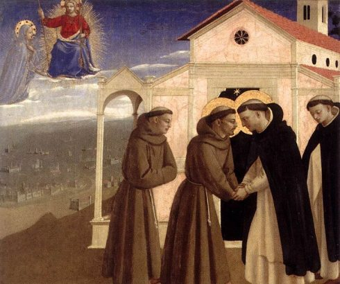 Meeting of Saint Francis and Saint Dominic as painted by Blessed Fra Angelico
