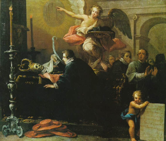 Saint Francis Borgia kneeling before the body of Queen Isabella of Spain. Painting by Antonio Palomino