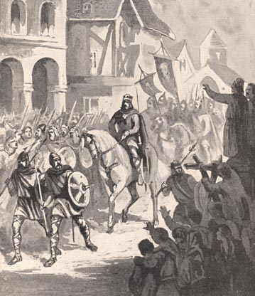 Charles Martel and his army returning from battle