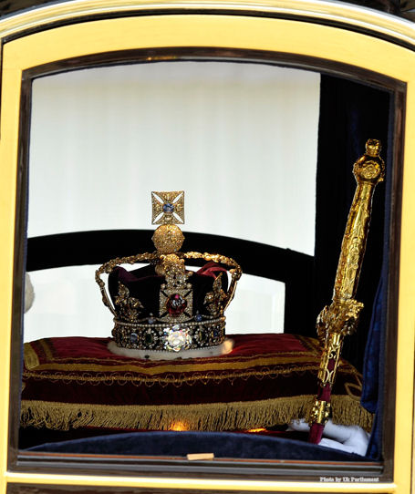 The St. Edward's Sapphire, which was the gem on St. Edward's ring, survived through Oliver Cromwell's reign and disassembly of the crown jewels and was recut into its present form for Charles II after the restoration. Queen Victoria had the gem set into the finial cross of the Imperial State Crown. St. Edward, who had great devotion to St. John the Evangelist, was very generous towards his subjects. One day on his way to Westminster Abbey he was accosted by a beggar. The King's immediate reaction was to search his pockets for some money to hand the beggar. Upon finding his pockets empty the king, without hesitation, slipped the sapphire ring off his finger and presented it to the beggar. The beggar thanked the generous monarch and departed. Many years later, two pilgrims from the Holy Land returned the ring to the king saying they had met St John the Evangelist who told them he had received the ring from the king, many years earlier in the guise of a beggar.