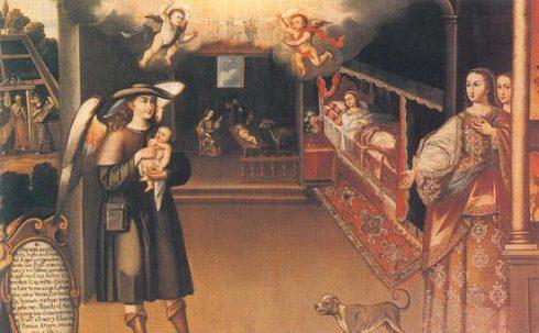 Birth of St. Francis painted by Basilio Pacheco de Santa Cruz Pumacallao