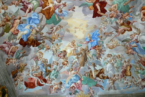 The coronation of Saint Francis by the Holy Trinity, Sacro Monte ( Orta ). Chapel 20: Fresco ( 1670 ) by Antonio Busca. Photo by Wolfgang Sauber