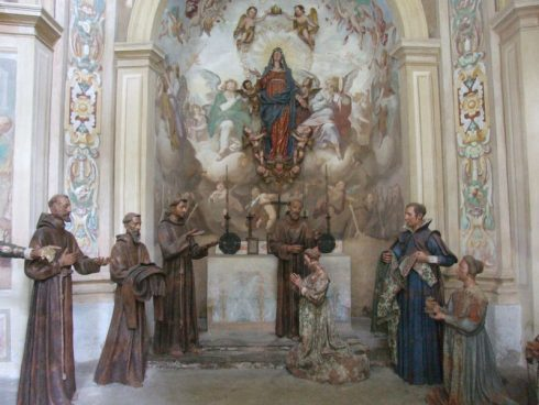 St. Francis receives St. Clare, a young noblewoman of Assisi, into a life of poverty, as depicted in Sacro Monte di Orta in Orta San Giulio, Piedmont.
