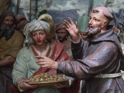 Saint Francis rejecting to money of the Sultan of Egypt