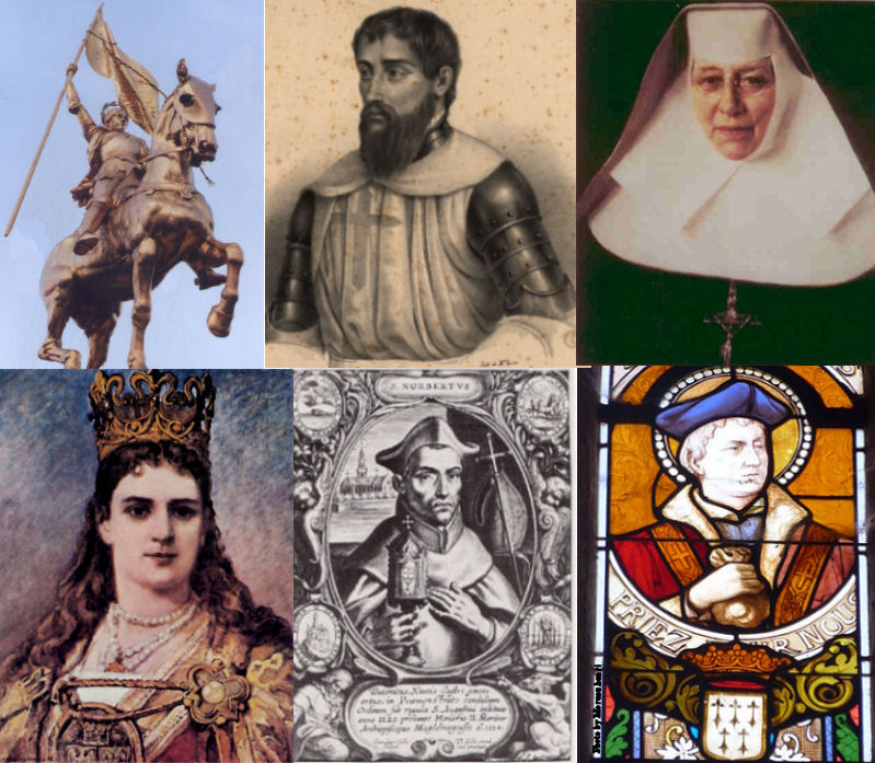 Top row, L to R: St. Joan of Arc, St. Nuno Álvares Pereira, St. Katherine Drexel. Bottom Row: St. Jadwiga of Poland, St. Norbert of Xanten & St. Ivo of Kermartin (also called St. Yves).