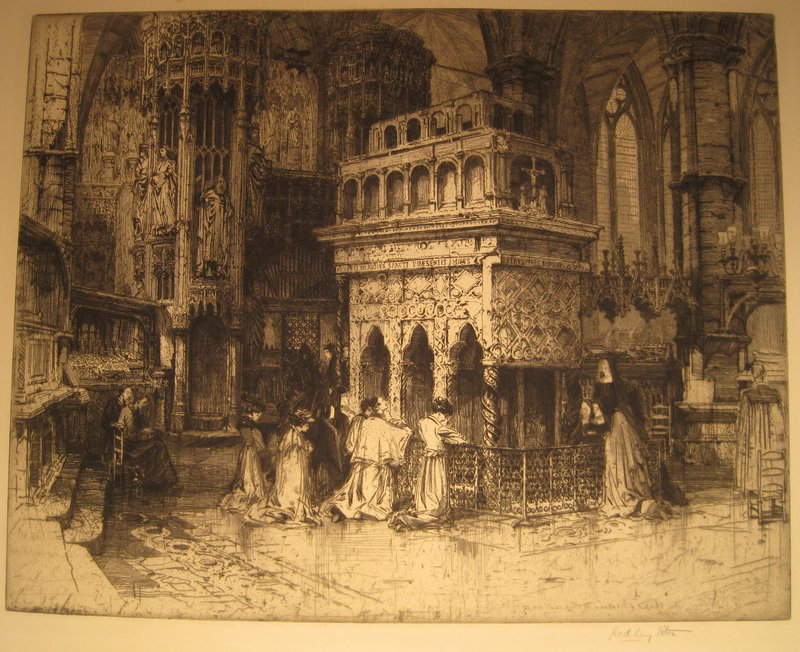 The tomb of St. Edward the Confessor, which contains his incorrupt body. He is the only Saint buried in Westminster Abbey and one of the few that were not destroyed by Henry VIII.