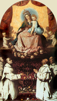 The Virgin of the Rosary venerated by Carthusians. Painting by Francisco de Zurbarán