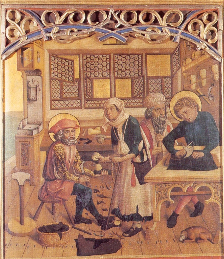 Saints Crispin and Crispinian from a c1500 altar panel at Dinkelsbühl, Bavaria.