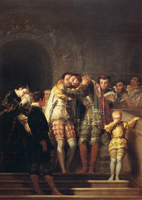Saint Francis Borgia Taking Leave of His Relatives Painting by Francisco de Goya