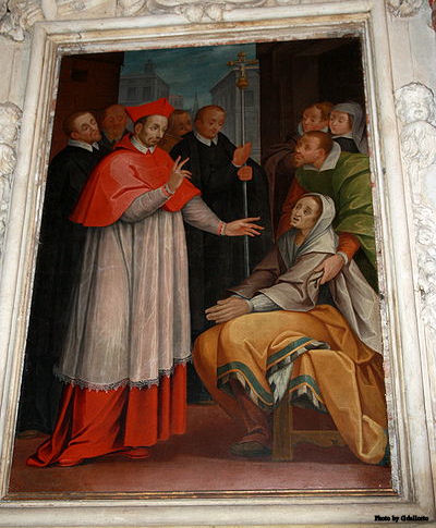 A miracle by St. Charles. Painting by Giovanni Dall'Orto