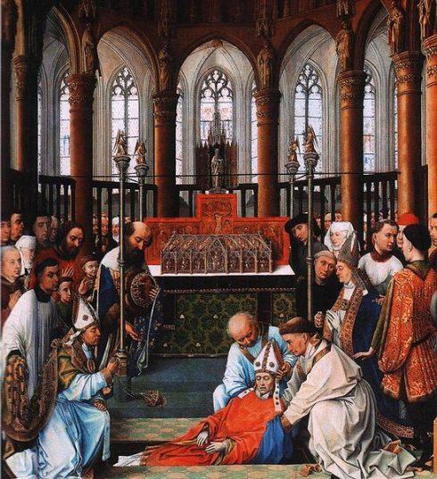 The exhumation of Saint Hubert in the Church Saint-Pierre at Liège. Painting by Rogier Van der Weyden