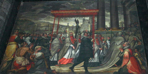 """""""Saint Charles goes in procession with the Holy Nail"""", Painting by Giovanni Dall'Orto"""