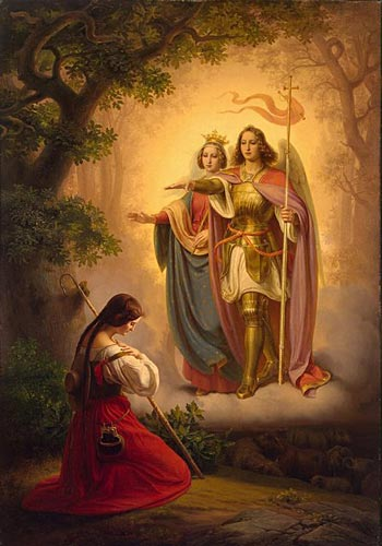 Apparition of St. Michael Arcangel and St. Catherine to St. Joan of Arc. Painting by Hermann Anton Stilke