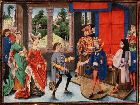 St. Hubert of Liège offers his services to Pepin of Heristal; the conversion of St Hubert in the background.
