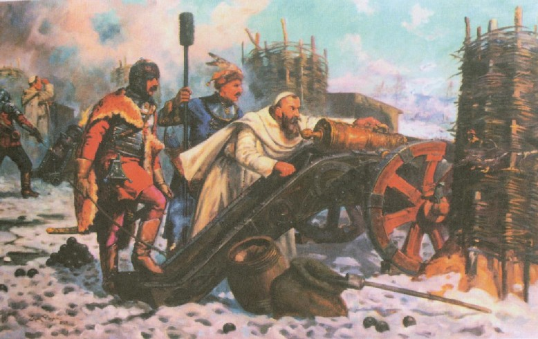 """""""The monastery answers by the mouth of its cannons"""" Father Kordecki at the cannons."""