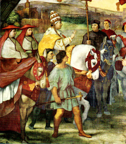 The Meeting between St. Leo the Great & Attila and his barbarians. Painting by Raphael