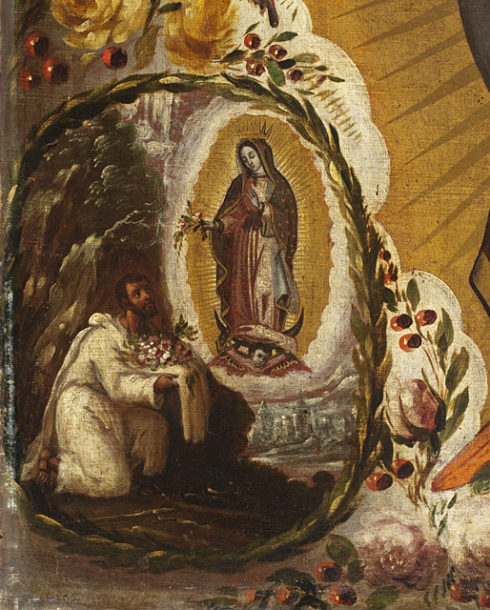 Our Lady arranging the flowers on St. Juan Diego's tilma. Painting by Manuel de Arellano, 1691