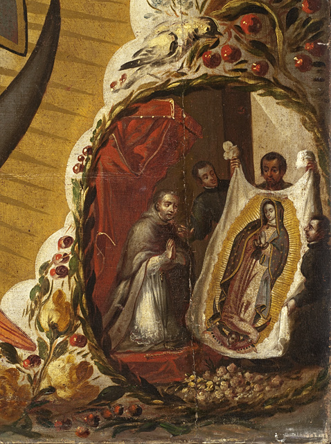 St. Juan Diego presenting the Tilma to the Bishop