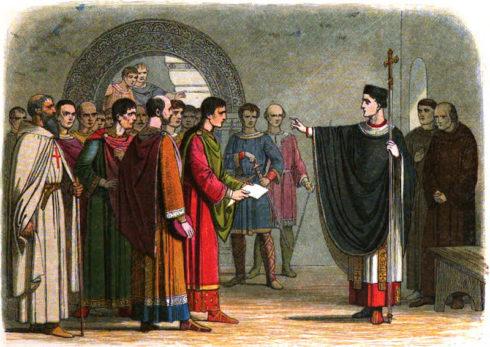 St. Thomas Becket forbids Robert de Beaumont, 2nd Earl of Leicester, and Reginald de Dunstanville, 1st Earl of Cornwall, to pass sentence on him.