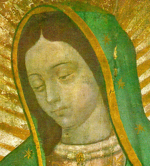 Around her neck, she wears a brooch with a cross, leading mankind to the Supreme Being, the God of the Christians.