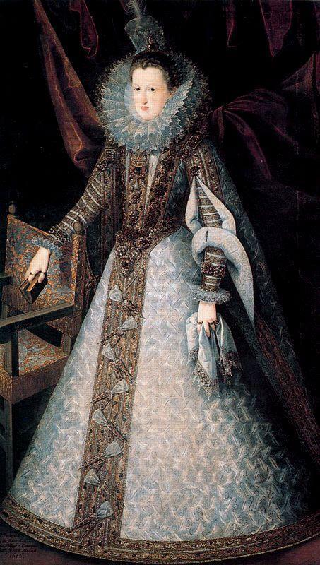 Queen Margarita, wife of King Philip III. Painting by Juan Pantoja de la Cruz.