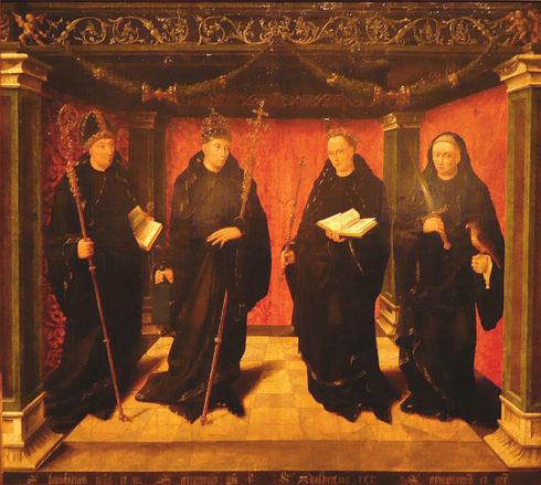 Benedictine saints St. Bonifatius, St. Gregorius the Great, St. Adelbertus of Egmond and St. Jeroen van Noordwijk
