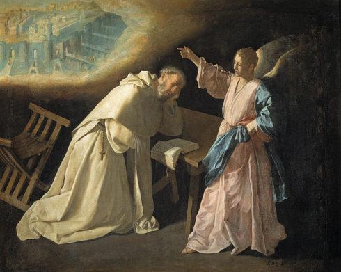 St. Pedro Nolasco has a vision of Jerusalem. Painting by Francisco de Zurbarán