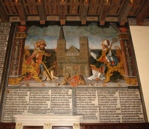 In this mural painting in the city hall of Bremen, Charlemagne and St. Willehad flank the Cathedral of Bremen as it appeared c1532