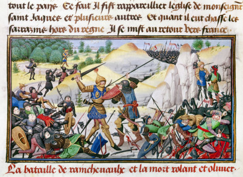 SONG OF ROLAND, 778 A.D. The death of Roland (in gold armor), the nephew of Charlemagne and the most celebrated of the emperor's twelve paladins, at the Battle of Roncesvalles in the Pyrenees, 778 A.D., the basis of the epic 'Chanson de Roland.' Flemish manuscript illumination, 1462.