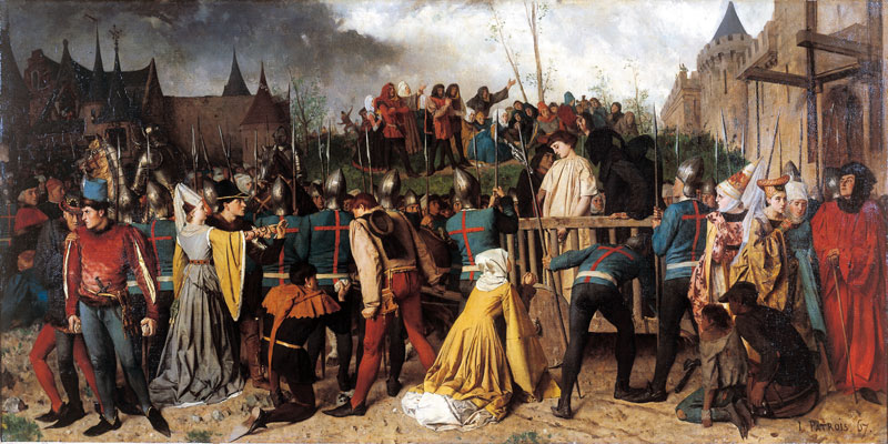 St. Joan of Arc being led to her execution in Rouen. Painting by Isidore Patrois