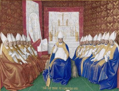 St. Hilary of Poitiers Presiding over a Council from the Hours of Etienne Chevalier