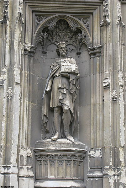 Sculpture of King St. Aethelberht of Kent on Canterbury Cathedral in England.