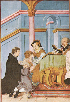 Queen Mary I pressing the coins to the sick.