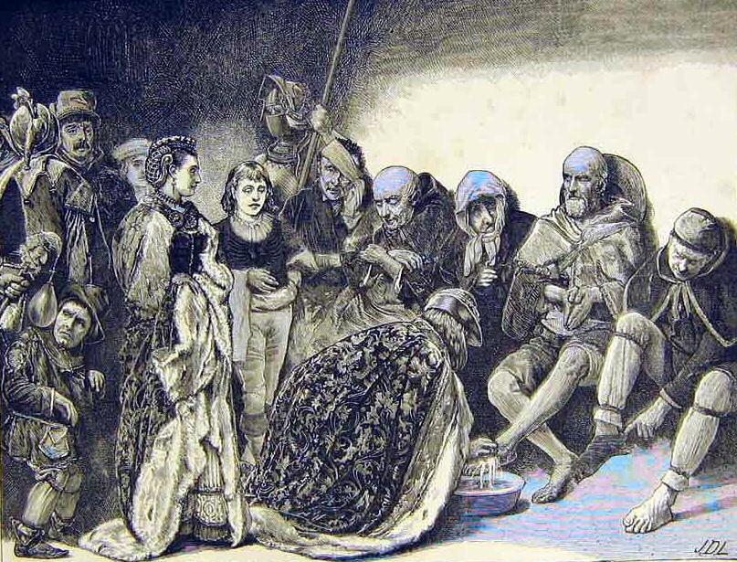 Maundy Thursday Royal washing of beggars feet