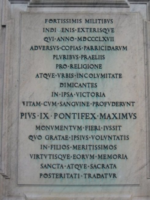 Tomb of Papal Zouaves killed in defense of Rome