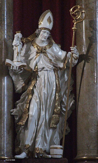 Statue of St. Rupert in the Church of St Philip and James in Altötting, Bavaria, Germany.