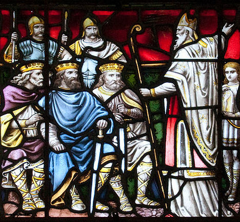 Stained glass window in the north transept of Carlow Cathedral of the Assumption, showing St Patrick Preaching to the Kings.