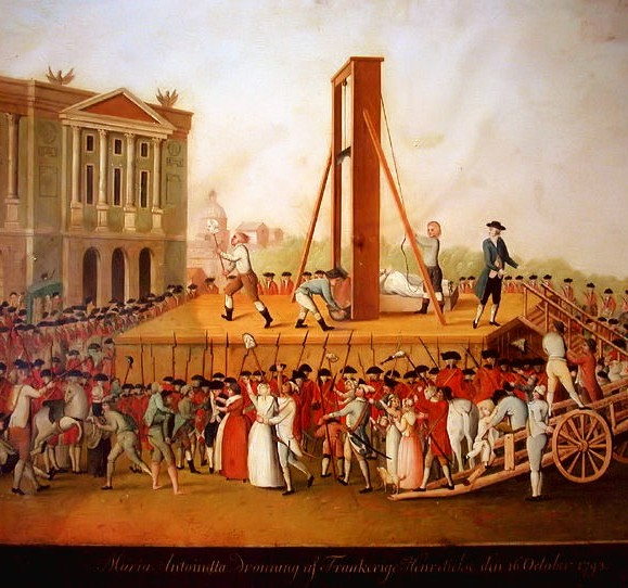 Marie Antoinette's execution on October 16, 1793 at the Place de la Révolution.