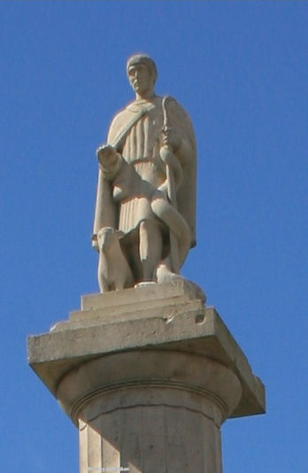 Statue of Saint Patrick on top of the octagon in Westport, County Mayo, Ireland.