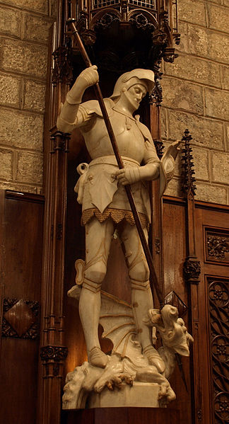 "Statue of St. George inside the City Hall, ""Saló de Cent"", Barcelona."