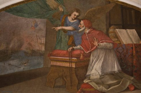 Pope St Pius V sees the Victory at Lepanto. This fresco is in the cell of St Pius V in Santa Sabina, Rome.