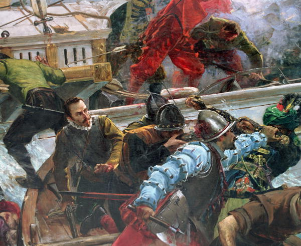 Don Juan of Austria in battle, at the bow of the ship, painted by Juan Novicio Luna.