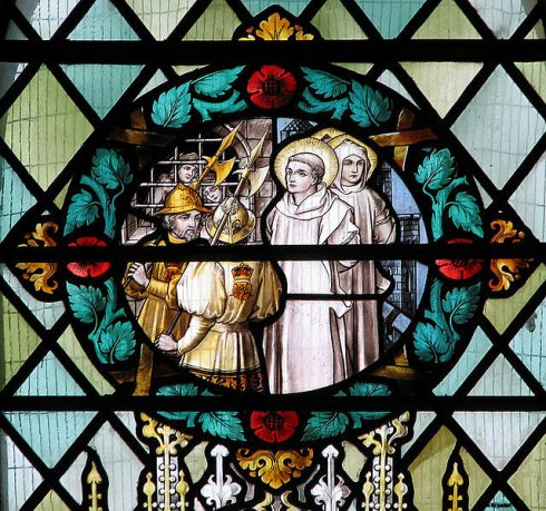 Martyrdom of St John Houghton & companions. Detail from a window in St. Dominic's priory church in London.
