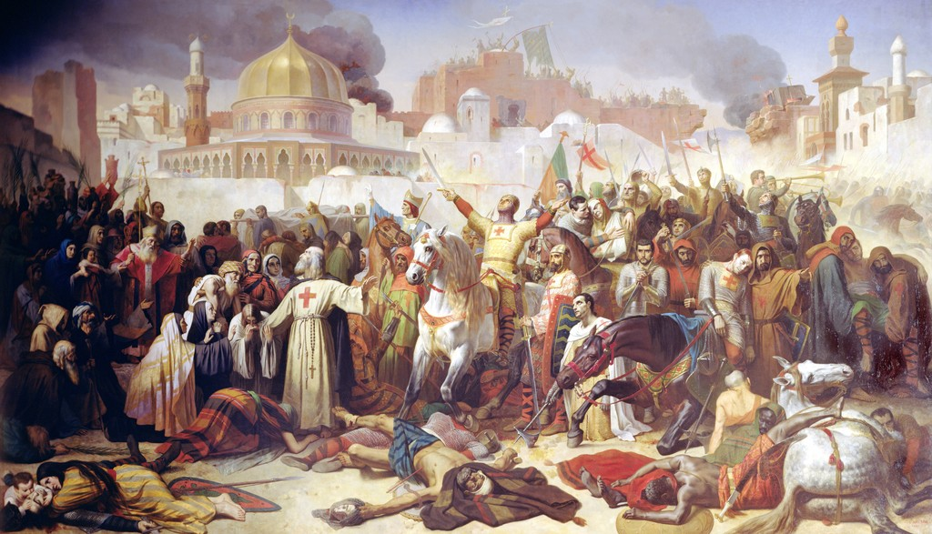 Taking of Jerusalem by the Crusaders, 15th July 1099. Painting by Emile Signol