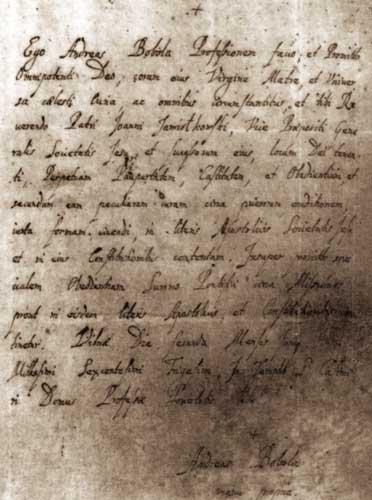 Manuscript written by St. Andrew Bobola