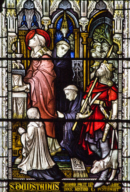 St Dunstan of Canterbury, Detail from a window in Downside Abbey church, Somerset. Photo by LawrenceOP.